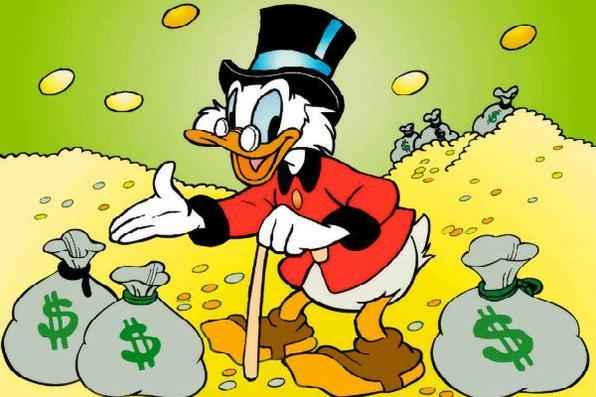 1º) Tio Patinhas. Fortuna: US$ 65,4 bilhões. Fonte do dinheiro: mineração e caça ao tesouro. Residência: Patópolis. Você o conhece dos gibis e desenhos da Disney - Reprodução