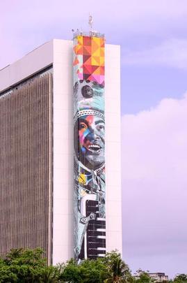 Imagem de Luiz Gonzaga será a maior exposta em uma parede lateral de prédio da América Latina e deve ficar pronta já no próximo mês. Foto: Daniel Tavares/Divulgação -