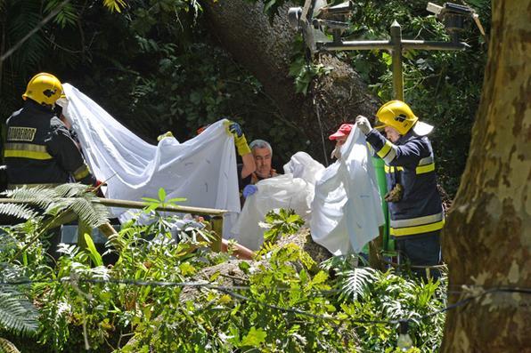 Queda de árvore em evento religioso deixa 11 mortos na Ilha da Madeira, em Portugal. Foto: AFP PHOTO / Helder SANTOS -