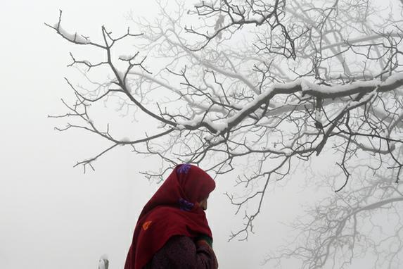 FOTOS DO DIA (Residente da Caxemira caminha após  queda de neve  nos arredores de Srinagar. Foto:  AFP PHOTO / Tauseef MUSTAFA)