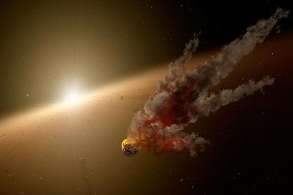 """FOTOS DO DIA (Esta imagem divulgada pela NASA obtida mostra uma ilustração do artista da estrela KIC 8462852. Tem sido chamado de """"estrela mais misteriosa no universo"""", maior do que o sol e ainda assim, brilhar e escurecer de uma maneira estranha que sugeriu que alguma mega estrutura alienígena pudesse estar circulando.Foto: AFP PHOTO / NASA / JPL-CALTECH.)"""