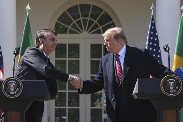 O presidente dos EUA, Donald Trump, aperta a mão do presidente do Brasil, Jair Bolsonaro, durante uma coletiva de imprensa conjunta no Rose Garden, na Casa Branca, em 19 de março de 2019, em Washington, DC. Foto: Jim WATSON / AFP. -