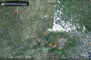 Mapa de localização epicentral. O epicentro é denotado pela estrela amarela. Os triângulos vermelhos indicam as estações NBLI (Livramento-PB) e NBCA (Caruaru-PE) (Divulgação)