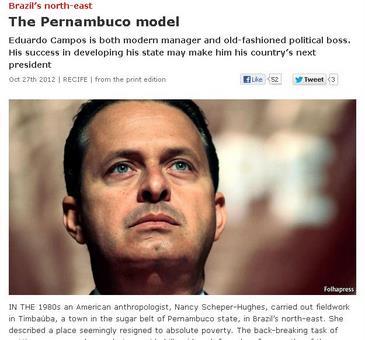 Revista inglesa fala sobre o desenvolvimento do estado e a visibilidade política de Eduardo Campos (Reprodução internet/ The Economist)