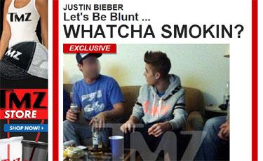 O astro pop aparece em fotos segurando um cigarro que, de acordo com o site TMZ, seria de maconha. Foto: TMZ/Reprodução