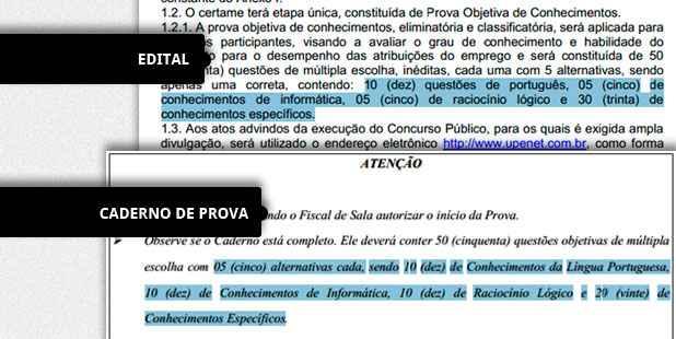 Na imagem acima, o trecho do edital com a distribuição dos assuntos por questão e, abaixo, a distribuição diferente descriminada no caderno de provas. Foto: Reprodução.