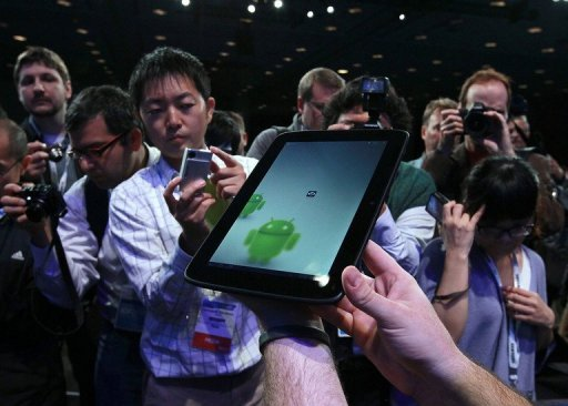 O Android, sistema operacional móvel da Google, irá superar este ano o iOS, da Apple, no mercado global de tablets, cujo boom continua. Foto: Justin Sullivan/Arquivo/Getty Images/AFP Photo