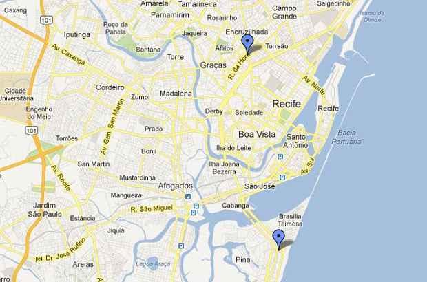 Rua da Hora, na Zona Norte, e Rua Capit�o Rebelinho, na Zona Sul, atraem o p�blico que gosta de comer e beber bem. Foto: Google Maps/Reprodu��o