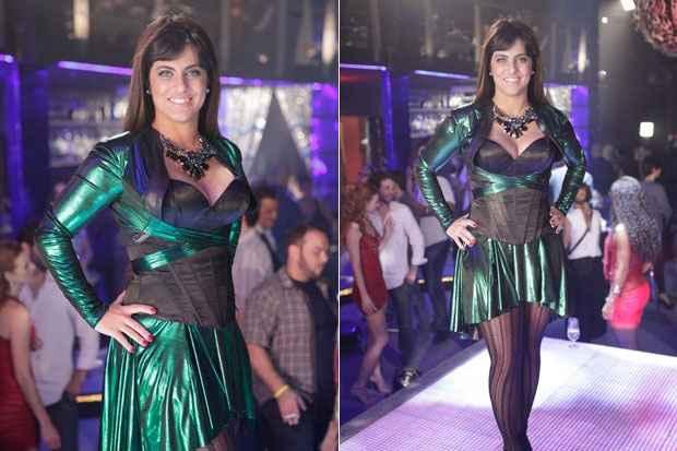 Thammy trocou as roupas masculinizadas por um vestido decotado, salto alto e madeixas longas. Foto: TV Globo/Divulgação