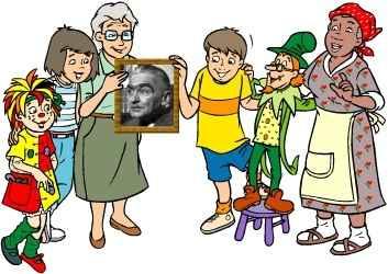 Monteiro Lobato e alguns dos seus personagens (www.brasilescola.com.br)