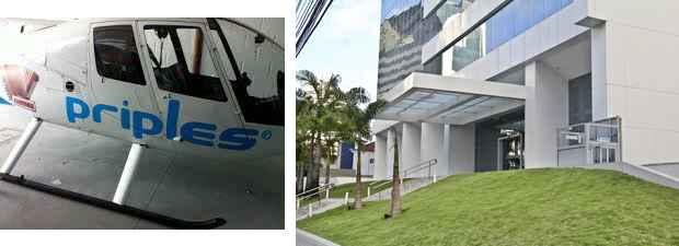 No Facebook foi encontrada foto de uma helicóptero com a marca da empresa, que por sua vez nunca esteve sediada em  Empresarial, no bairro de Boa Viagem. Foto: Facebook/Reprodução e Arthur de Souza/Esp. DP/D.A Press
