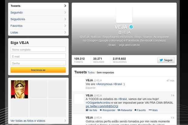 Twitter da revista Veja é hackeado com convite para protesto