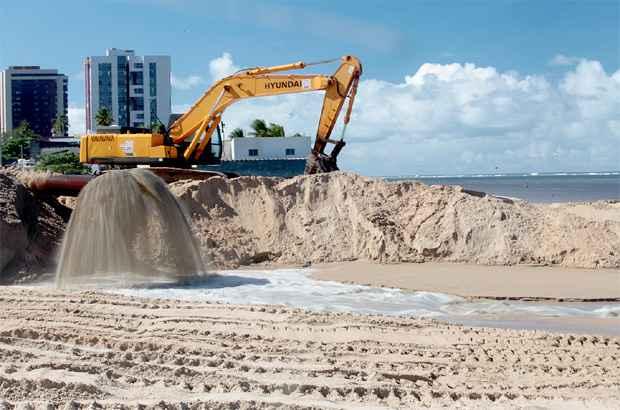 Começa hoje a dragagem de areia para engorda das praias. Foto: Prefeitura de Jaboatão/ Divulgação