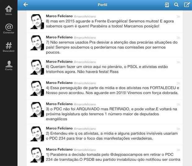 Marco Feliciano postou em seu Twitter que irá voltar com