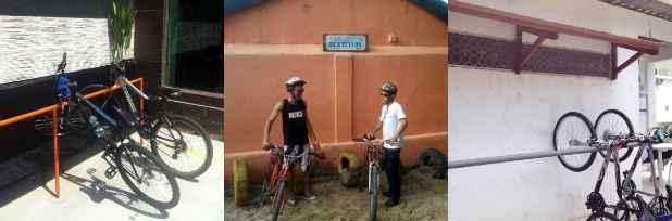 Fotos: Divulgação. Da esquerda para a direita, bicicletário da Villa Sandino, Bar Biruta e Restaurante Esbarre. (Divulgação)