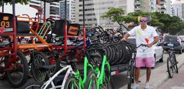 Algumas locadoras oferecem bicicletas especiais, mas nem todas alugam equipamentos de segurança. Foto: Mariana Fabrício/ Esp DP/ D.A Press