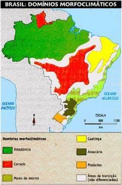 Mapa que mostra os domínios morfoclimáticos do Brasil. Crédito: Aziz Ab'Saber/Divulgação
