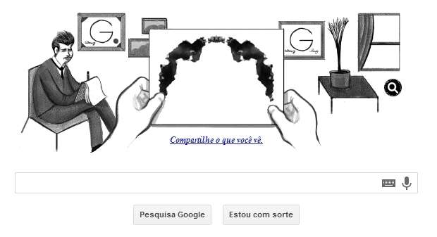 Doodle desta sexta-feira homenageou o psicólogo suiço Hermann Rorschach. Foto: Google/ Reprodução.