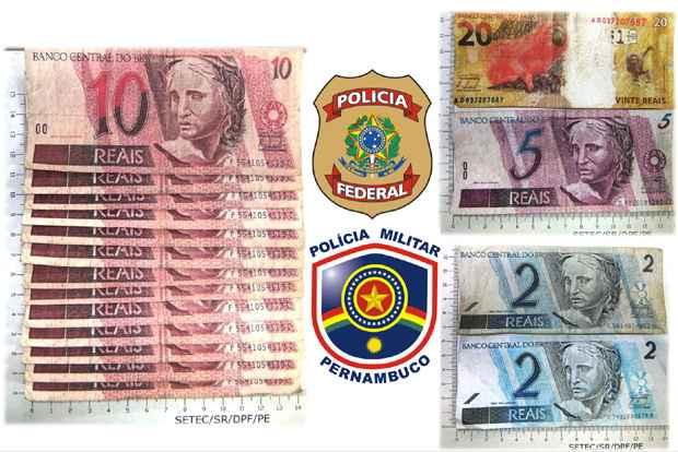 Com o suspeito foram encontradas 13 notas de R$ 10 e uma de R$ 20, uma de R$ 5 e duas de R$ 2, todas falsificadas. Foto: PF/Divulgação