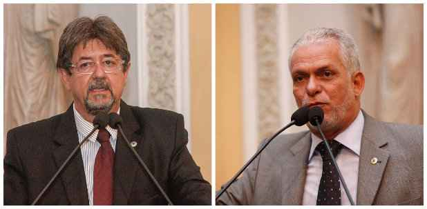 Deputados Augusto C�sar (PTB) e S�rgio Leite (PT) s�o cotados para assumir a lideran�a da oposi��o. Fotos: Assembleia Legislativa/Divulga��o (Assembleia Legislativa/Divulga��o)