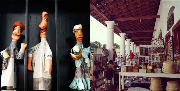 Mamulengos expostos no Espaço Tiridá e o terraço do Mercado da Ribeira