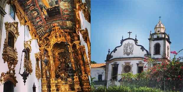 À direita, a fachada do mosteiro de São Bento. No detalhe, à esquerda, a capela-mor do mosteiro
