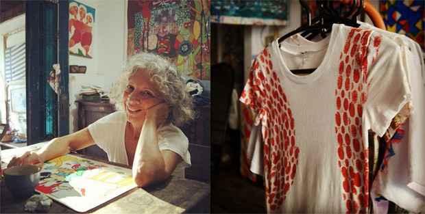 A artista plástica Iza do Amparo no ateliê dela. À direita, as camisetas que custam R$15