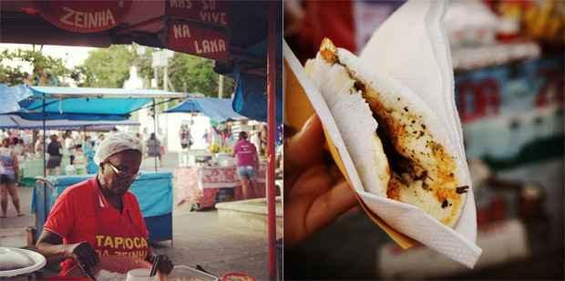 No Alto da Sé a tapioca é indispensável. A mais popular, de queijo e coco, tem preço tabelado em R$ 5