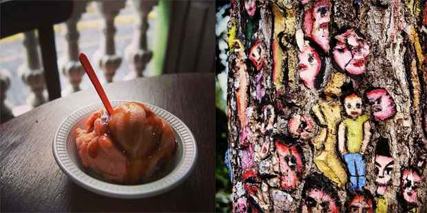 Bola de sorvete de acerola com calda de caramelo na sorveteria Saborear-te custou R$ 1,50. Ao lado, intervenção artística em árvore, na Ladeira da Misericórdia
