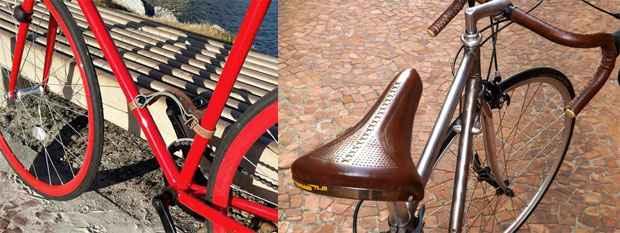 Alça para carregar bicicleta - R$ 40 / Selim   fita de guidão - R$ 225,00 (Sem Raça Definida/Divulgação)