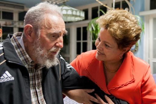 A presidente Dilma Rousseff, encontra-se com o ex-presidente cubano, Fidel Castro, em Havana. Foto: Alex Castro/CUBADEBATE/AFP (Alex Castro/CUBADEBATE/AFP)