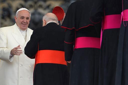 Papa Franciso cumprimenta bispos em 22 de janeiro de 2014, no Vaticano. Foto: Andreas Solaro/Arquivos/AFP Photo