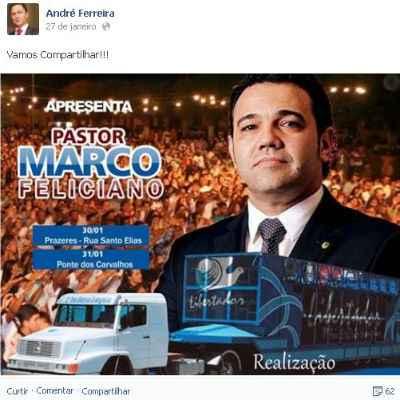 Vereador Andr� Ferreira divulgou evento em sua p�gina no Facebook.  (Reprodu��o/Facebook)