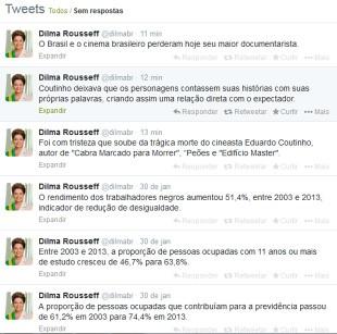 As duas postagens publicadas no perfil oficial da presidente Dilma Rousseff lamentando a morte de Eduardo Coutinho