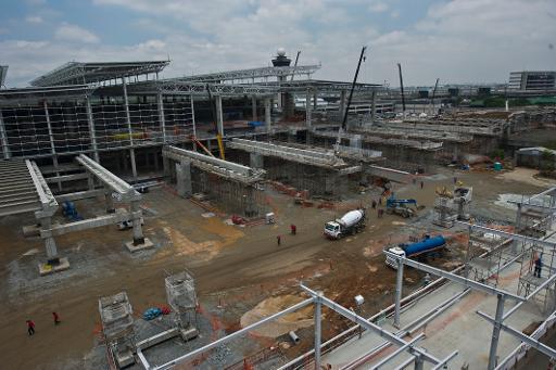 Constru��o de terminal no aeroporto de Guarulhos, S�o Paulo. Foto: Nelson Almeida/AFP Photo