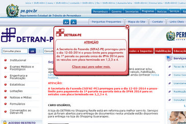 Reprodu��o/site do Detran