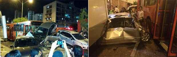 Carros ficaram empilhados após colisão. Foto: Diogo Melo/Cortesia
