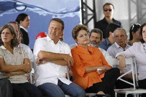 �ltima visita de Dilma em Serra Talhada foi marcada por um clima tenso entre ela e Eduardo Campos. O governador, na ocasi�o, fez um discurso lido e bastante cr�tico � gest�o petista. Foto: Blenda Souto Maior/DP/D.A Press (Blenda Souto Maior/DP/D.A Press)