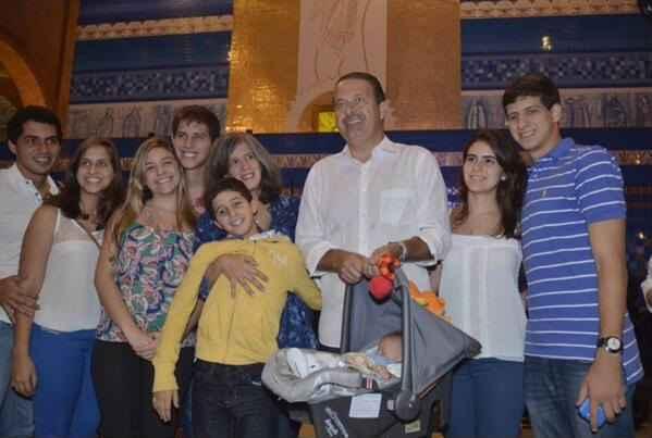 Fam�lia acompanhou Eduardo Campos at� Aparecida. Foto: Twitter/Reprodu��o