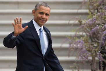 Obama se despede na Casa Branca, antes de embarcar para a �sia. Foto: Saul Loeb/FP Photo