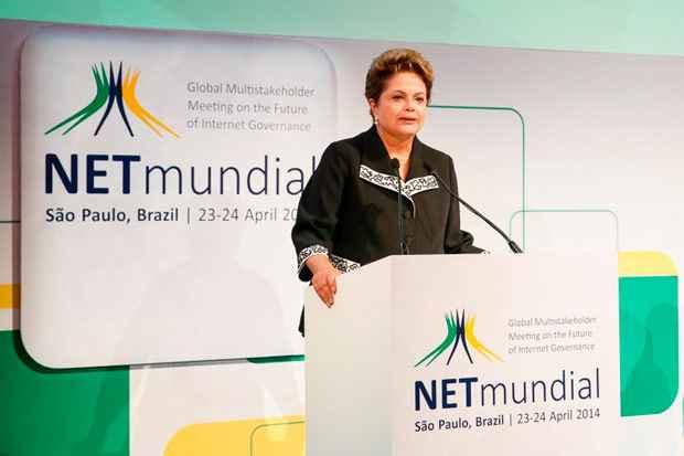 Presidenta Dilma Rousseff durante cerim�nia de abertura do Encontro Global Multissetorial sobre o Futuro da Governan�a da Internet - NET Mundial. Foto: Roberto Stuckert Filho/PR