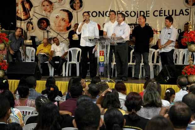 Candidato socialista participou do 1� Congresso de C�lulas Quadrangular Pernambuco. Foto: Aluizio Moreira/Divulga��o assessoria Paulo C�mara