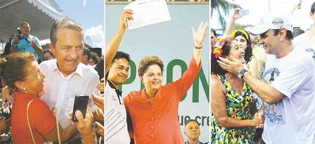 Eduardo Campos, Dilma Rousseff e A�cio Neves est�o cada vez mais presentes no Nordeste para n�o perder espa�o para os advers�rios