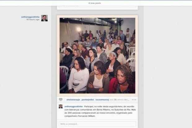 Foto publicada mostra campanha eleitoral no lugar do esfor�o concentrado. Foto: Instragam/Reprodu��o (Instragam/Reprodu��o)