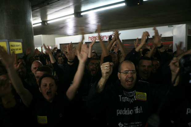 Os trabalhadores rejeitaram a proposta de 8,7% feita pelo Metr� e decidiram, na quarta-feira, 4, entrar em greve. Foto: Paulo Iannone/Sindicato dos Metrovi�rios (Paulo Iannone/Sindicato dos Metrovi�rios)