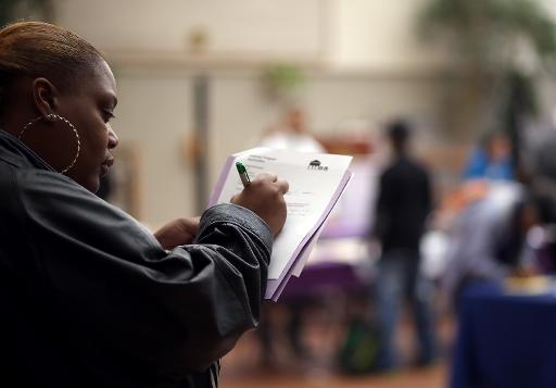Feira de empregos em San Francisco. Foto: Justin Sullivan/AFP