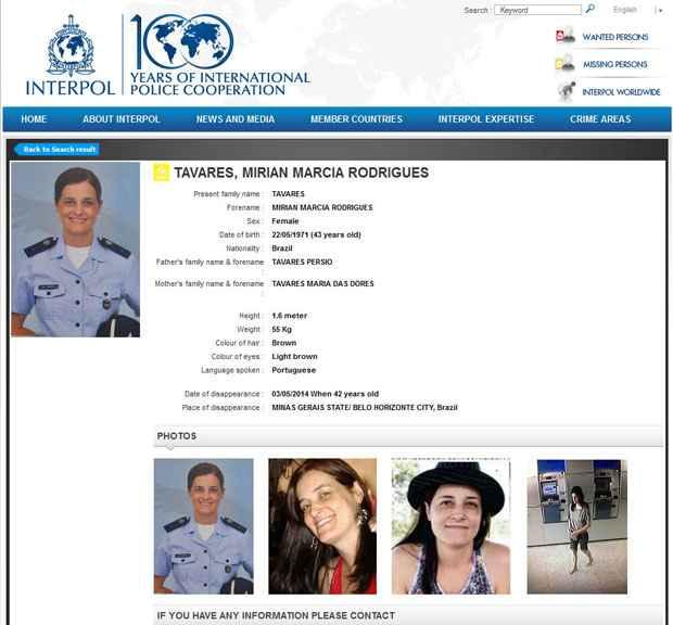 A partir de agora, a foto, nome completo e outros dados da oficial est�o dispon�veis no site da organiza��o, com alerta internacional. Imagem: Interpol/Reprodu��o