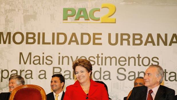 Presidenta Dilma Rousseff durante cerim�nia de an�ncio de investimentos do PAC2 Mobilidade Urbana para a regi�o metropolitana da Baixada Santista. Foto: Roberto Stuckert Filho/PR