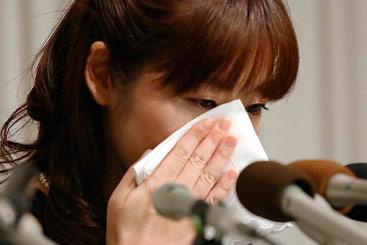 A cientista japonesa Haruhiko Obokata, que trabalhou com Sasai, participa de uma entrevista coletiva. Foto: JIJI PRESS/AFP Photo