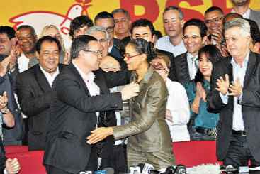Marina cumprimenta Beto Albuquerque pela confirma��o do nome dele como vice na chapa socialista: novas diretrizes a partir de agora. Foto: Minervino Junior/CB/D.A Pressrina  (Minervino Junior/CB/D.A Pressrina )